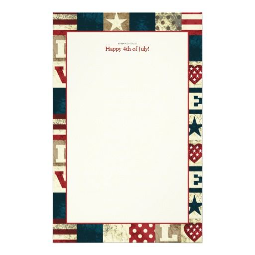 love america patriotic 4th of july stationery 4th of july