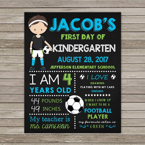 First Day of Kindergarten Chalkboard First Day of