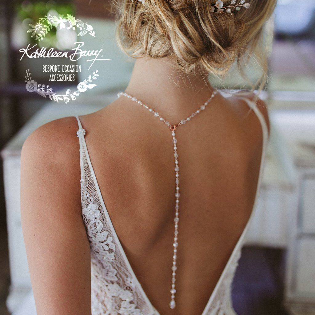Rachel Open Back Necklace Crystal And Pearls Silver Rose Gold Or Gold 7 Pearl Colors Available Bridal Backdrop Necklace Back Necklace Gold Wedding Jewelry