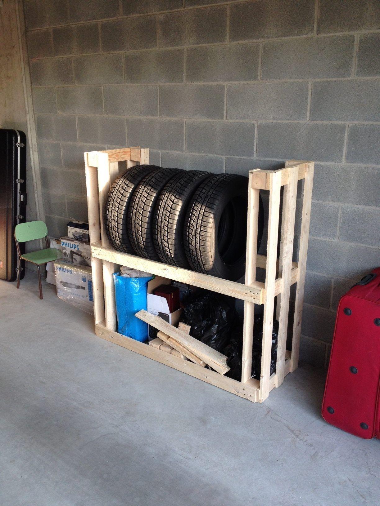 Tire Rack From Upcycled Wooden Pallets 1001 Pallets Diy Garage Storage Storage Pallet Diy