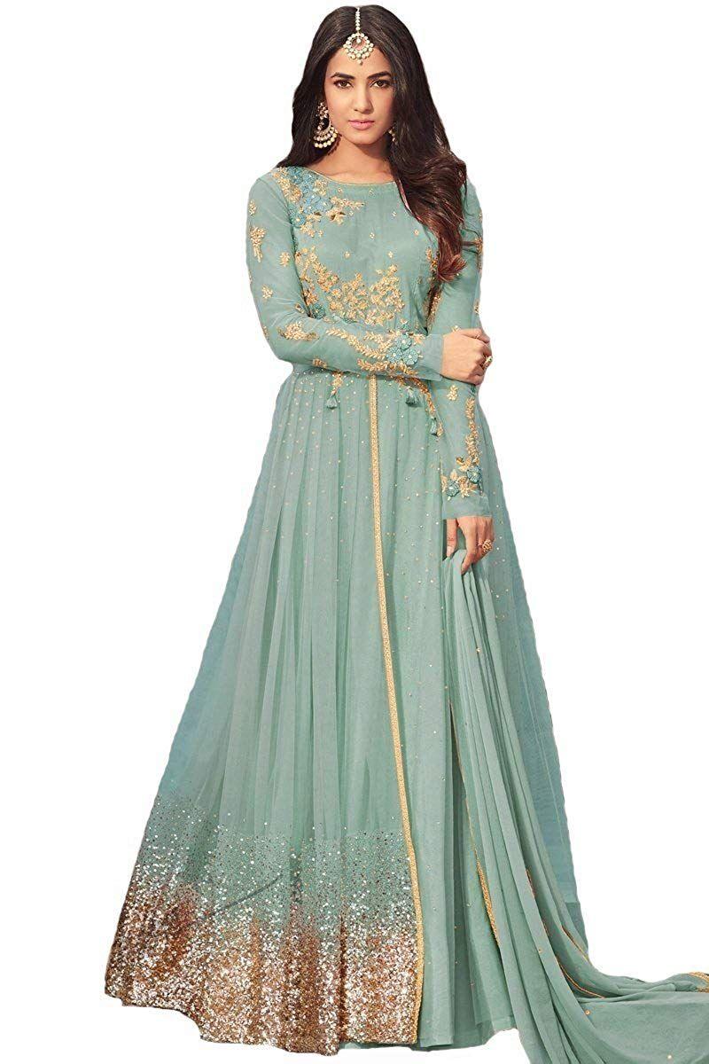 e262fb266d $85 ziya Net Latest Embroidered and with Beautiful Anarkali Designer Salwar  Kameez Maisha at Amazon Women's Clothing store: