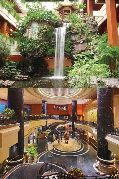 Top: Chinese landscaped carp pool garden in the White Swan Hotel in Guangzhou. Above: The lobby of Grand Hyatt Hong Kong.  (By Interior Designer Robert Bilkey). Photos provided to China Daily