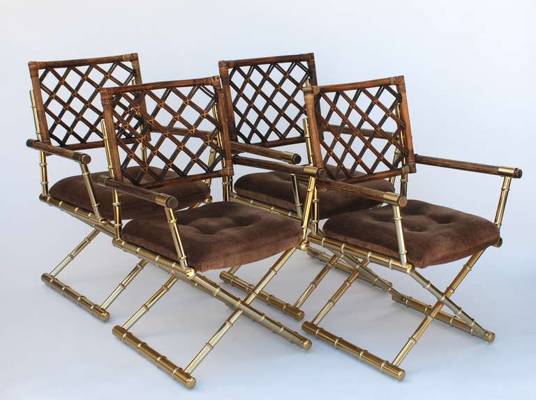 Bamboo Rattan Chairs set of four faux bamboo brass and rattan directors chairs | faux