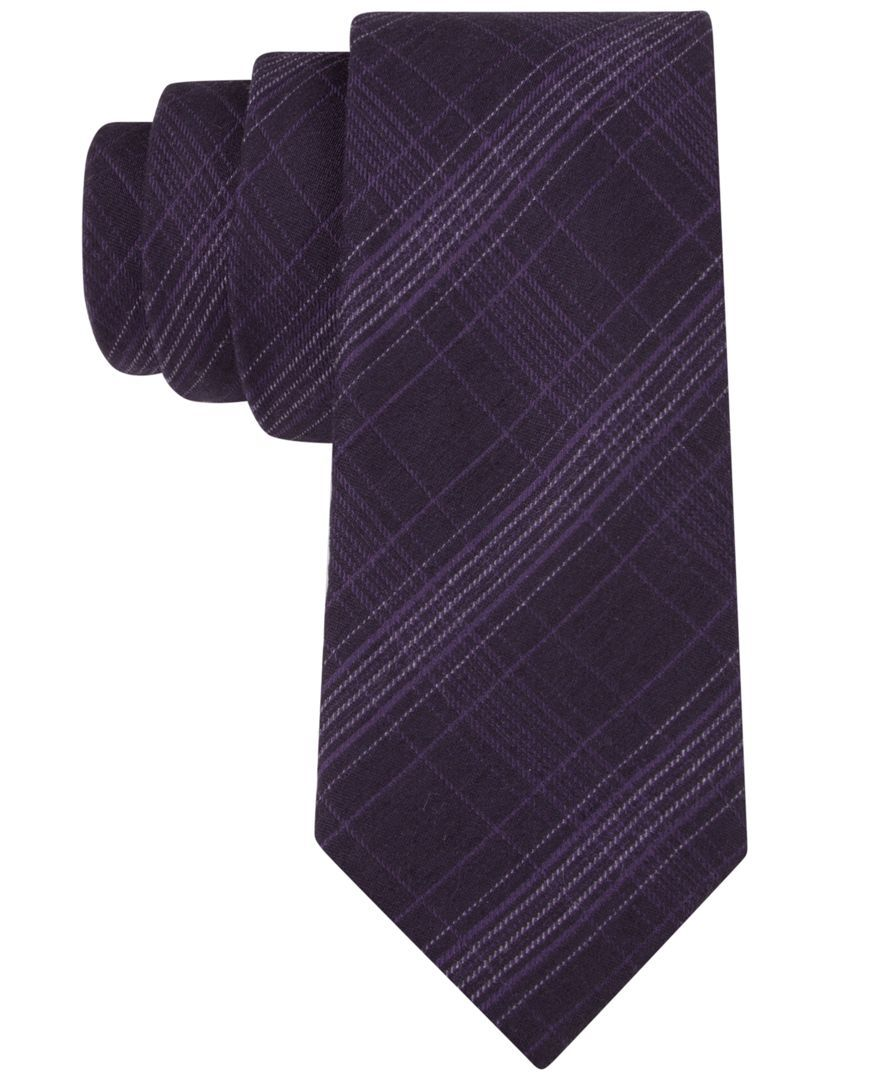 Purple flannel men  Calvin Klein Flannel Plaid Skinny Tie  Products  Pinterest