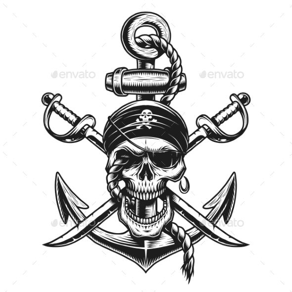 Pirate Skull Emblem With Swords And Anchor Pirate Skull Tattoos Pirate Tattoo Pirate Skull Tattoo Designs