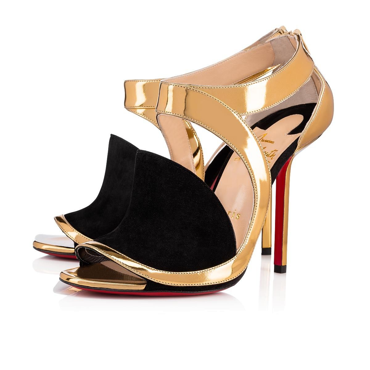 new products 1cbee bf4ac Rotonda 100 Gold/Black Suede - Women Shoes - Christian ...