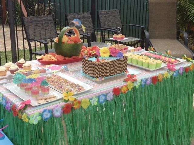 having a luau themed graduation party line the tables with grass skirts for an