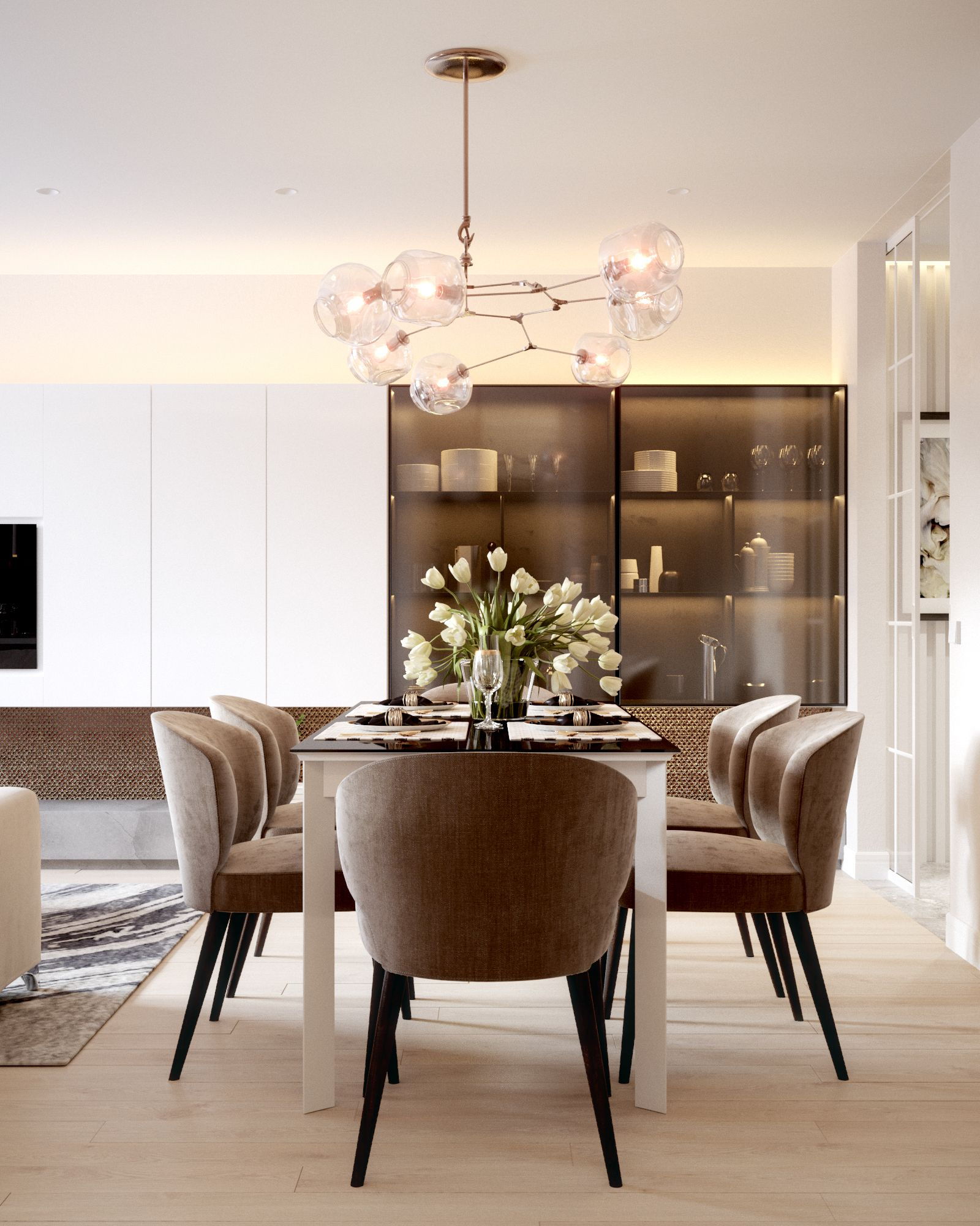 70 Modern Dining Room Ideas For 2019: Visualization: Maxim TiabysDesigner: Nastya Ivanchuk For