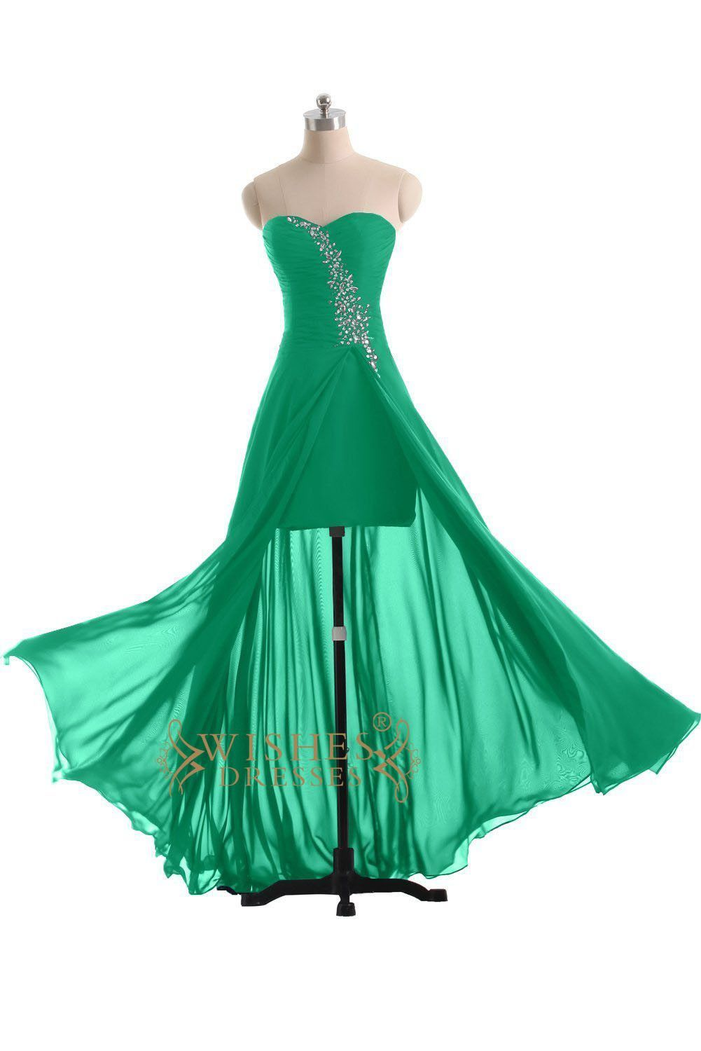 High low chiffon green cocktail dress prom dress homecoming dress