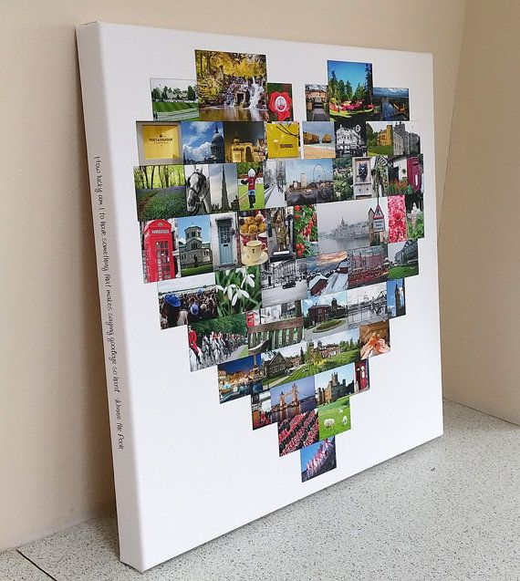 Heart Shape Photo Collage Canvas Print By Bespokecollagecanvas