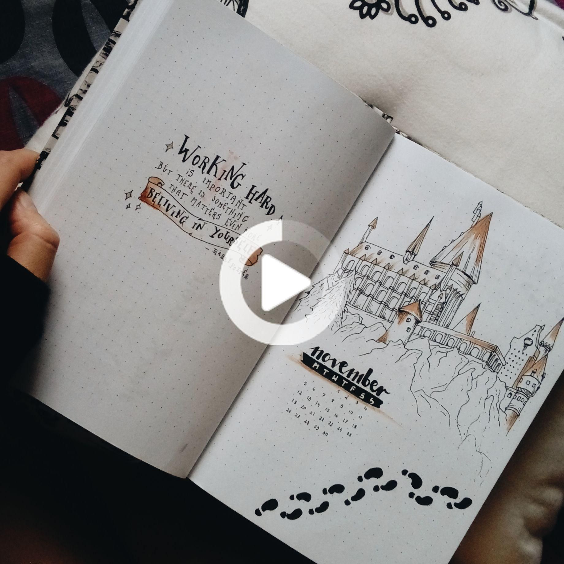 November Bullet Journal First Page In Harry Potter Style Bullet Journal First Page Bullet Journal Quotes Harry Potter Style