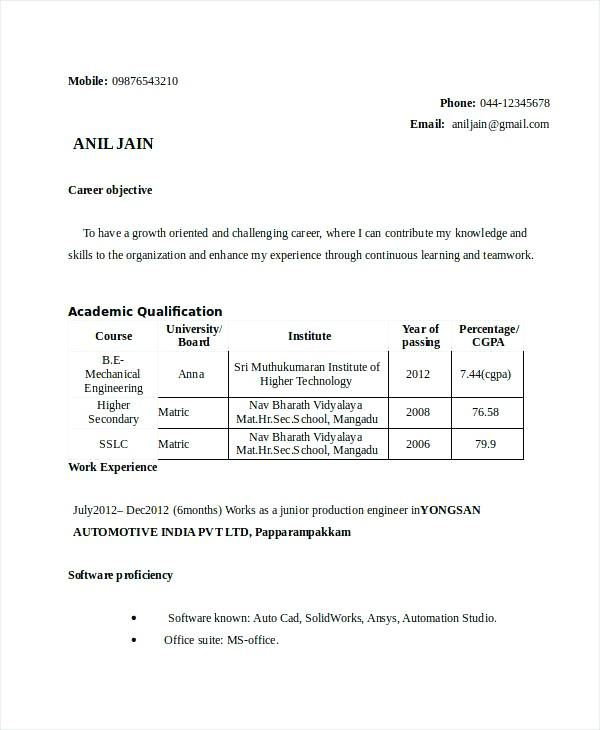 resume samples for engineering students freshers luxury
