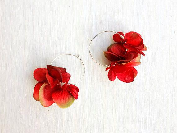 Red Petal Earrings Dark Red Rose Color Hoop Earrings Beads Silver Tone Nickel Free Hoops Dark Red Dark Red Roses Red Petals Rose Color