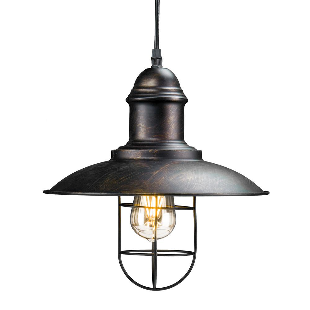 Tesino 1 Light Black Industrial Cage Pendant Lamp Hd88166 Cage