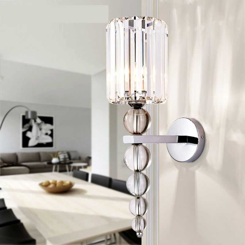 New Modern Wall Lamp Stacked Crystal Ball Chrome Led Wall Sconce