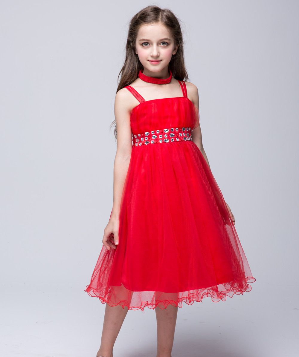 ea91b20a18c5 Teenage Party Dress Kids Red Tulle Ball Gown Evening Dresses For Baby Girls  Infant Kids Wedding