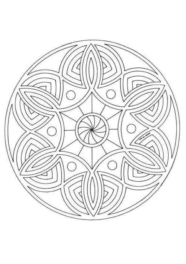 Mandala graphique avec des spirales imprimer - Mandala a colorier en ligne ...