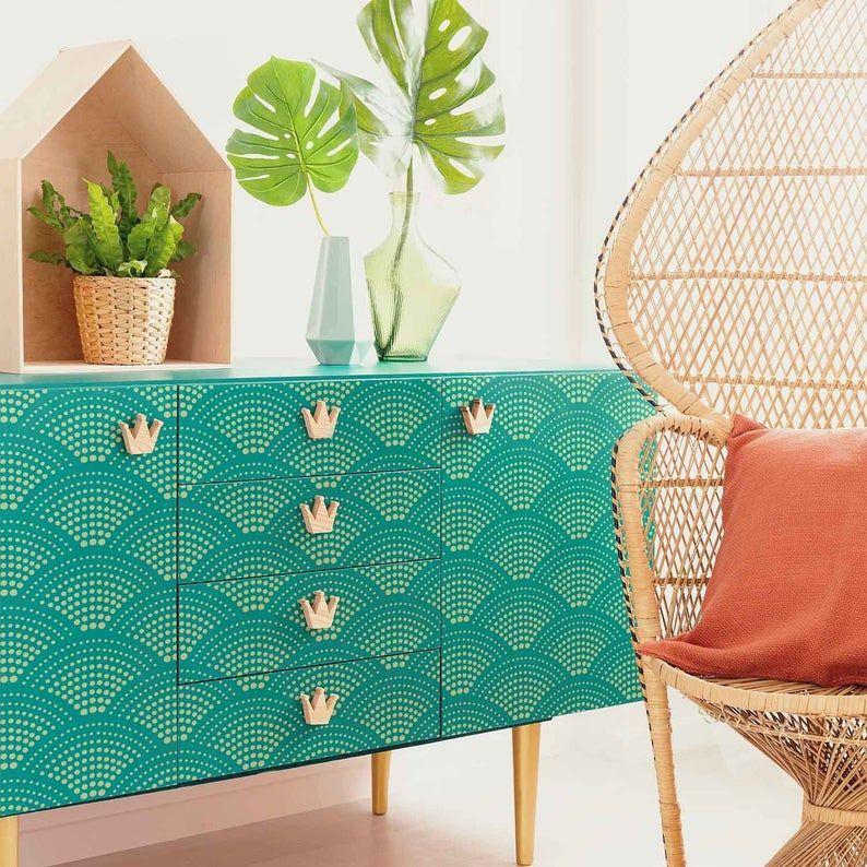 Radiant Scallop Furniture Stencil - FURNITURE STEN