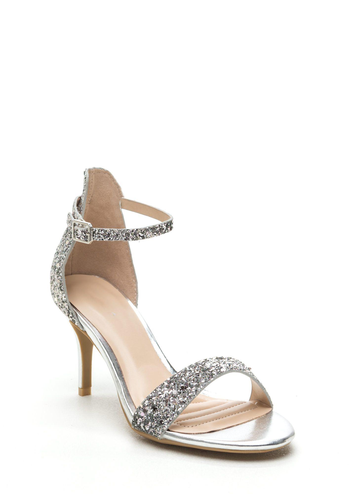 f6e11c073630 Glitterbug Short Strappy Heels SILVER