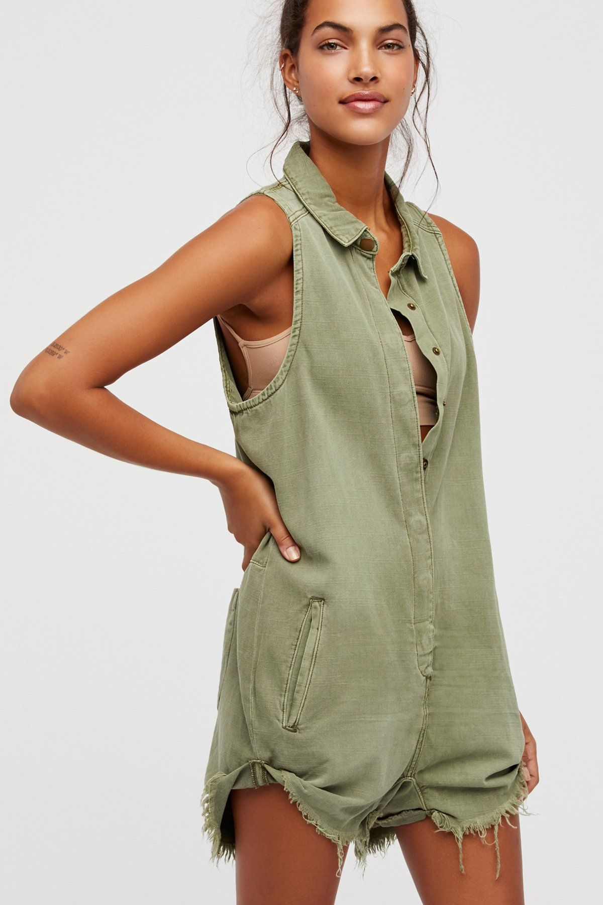 132c03e5913 Military-inspired playsuit with an easy