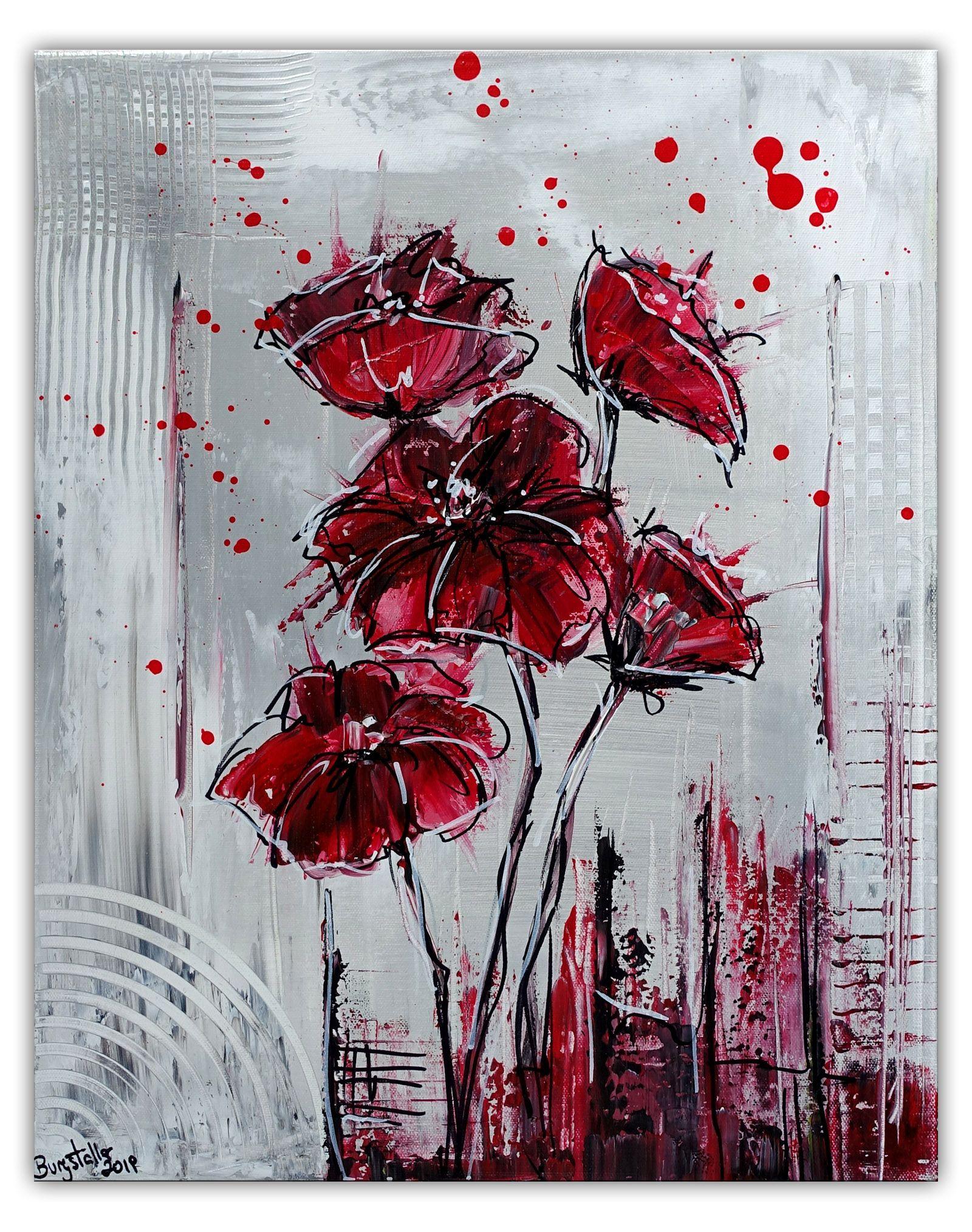 wandbild mohn handgemaltes blumenbild acrylbild acrylbilder malerei blumenbilder abstrakte kunst spachteltechnik maler