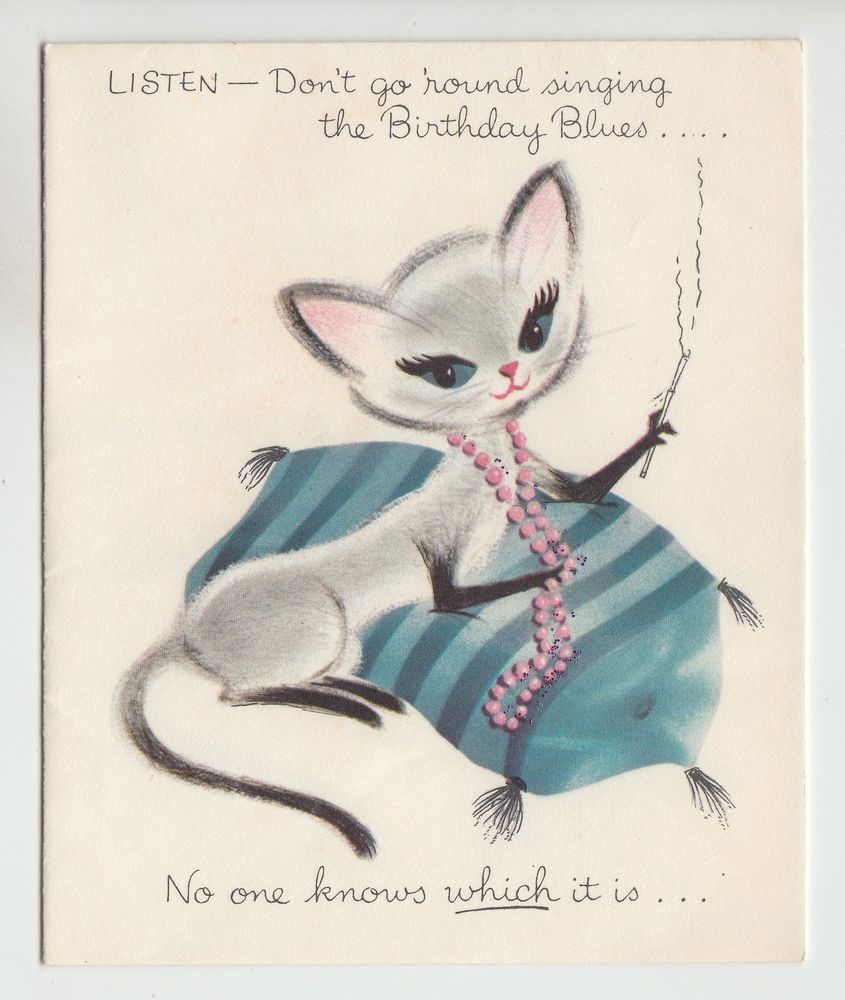 Vintage Cat Smoking A Cigarette Norcross Birthday Greeting Card