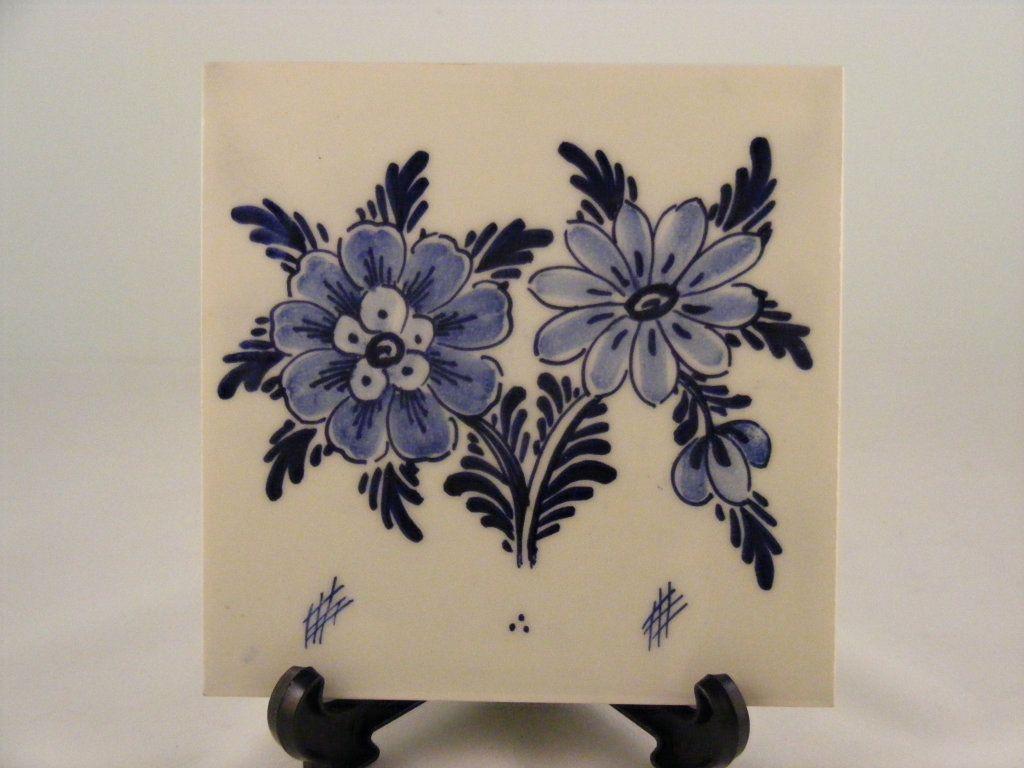 Tegel Delfts Blauw : Een delft blauw tegel van bloemen bloemen art opdracht erva