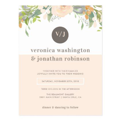 Elegant Watercolor Blush Pink Floral Wedding Postcard  Wedding