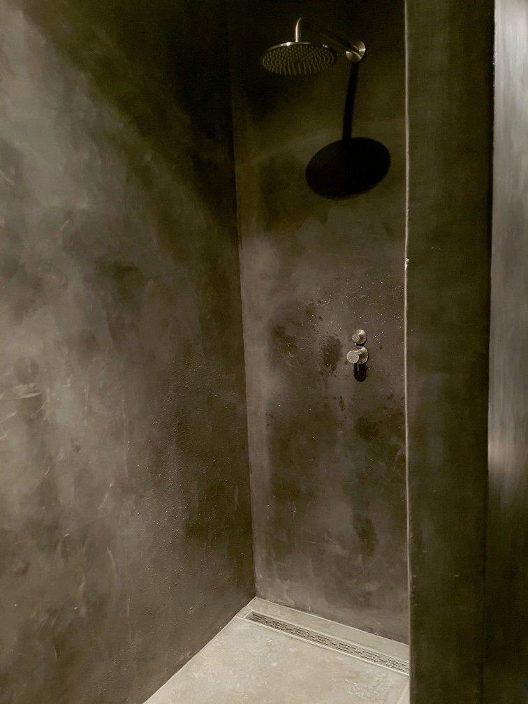 Badkamer tadelakt Betonlook Zwart Hamsmade interiors   Hamsmade ...