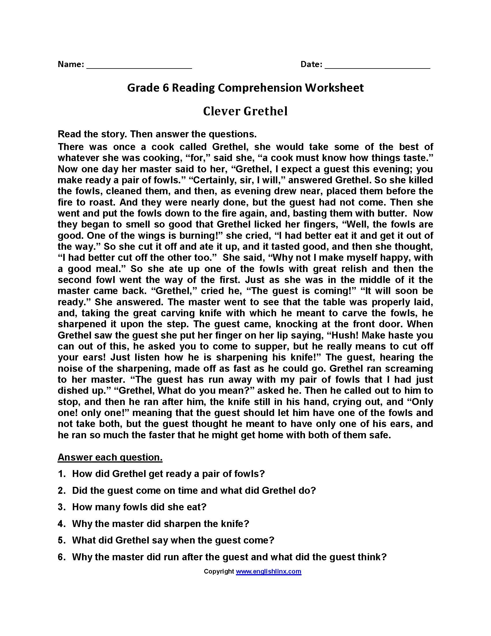 Free Printable 6th Grade Reading Worksheets With Answer