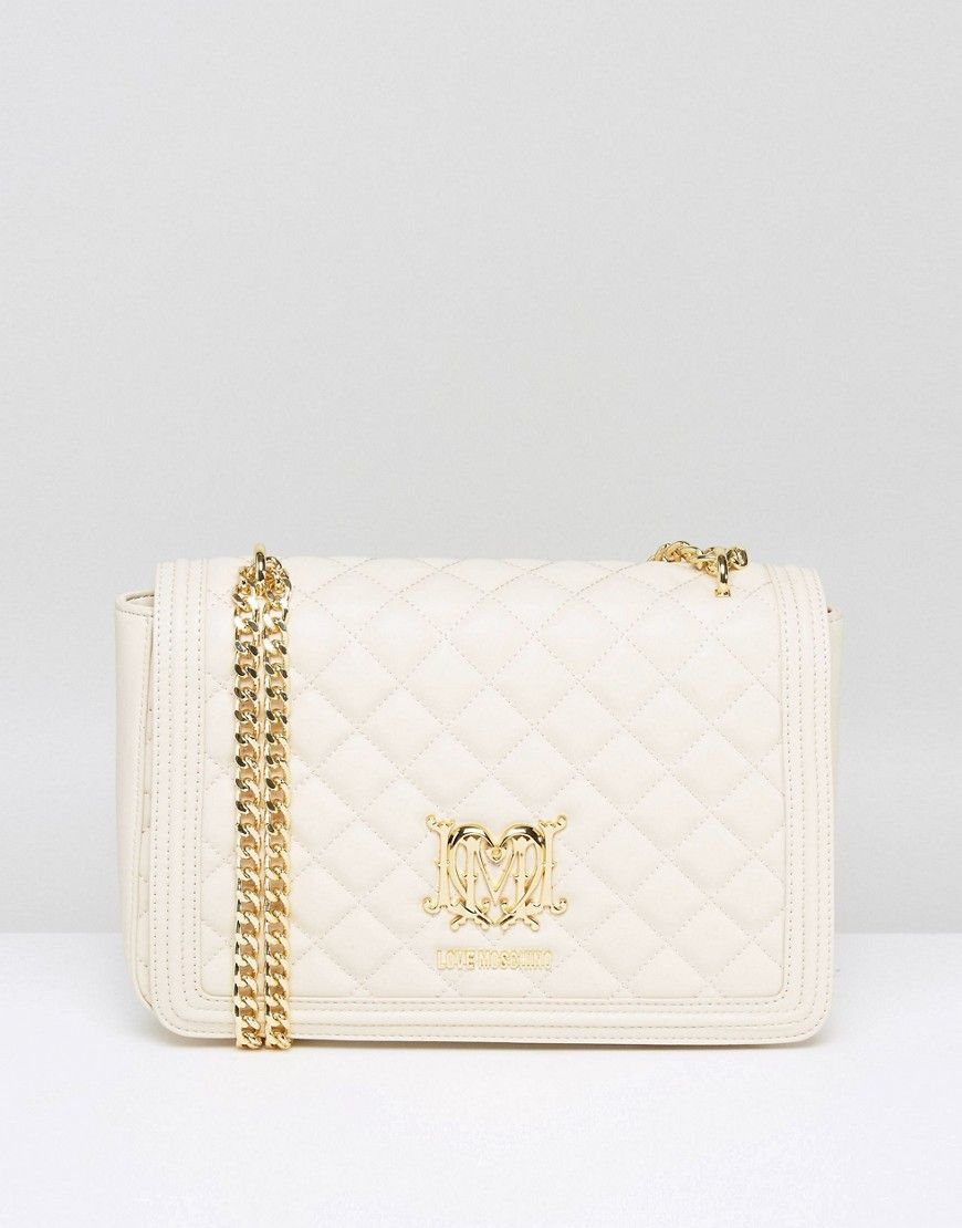 880241306e7 LOVE MOSCHINO QUILTED SHOULDER BAG WITH CHAIN - CREAM. #lovemoschino #bags  #shoulder bags #lining #silk #suede #
