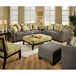 Avignon Charcoal Living Room Set With Those Green Accessories