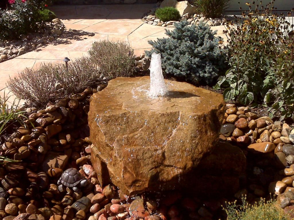 Bubbling Rock Waterfeature Provided By Wildflower Landscape Thornton 80241 Rock Fountain Water Features Diy Fountain