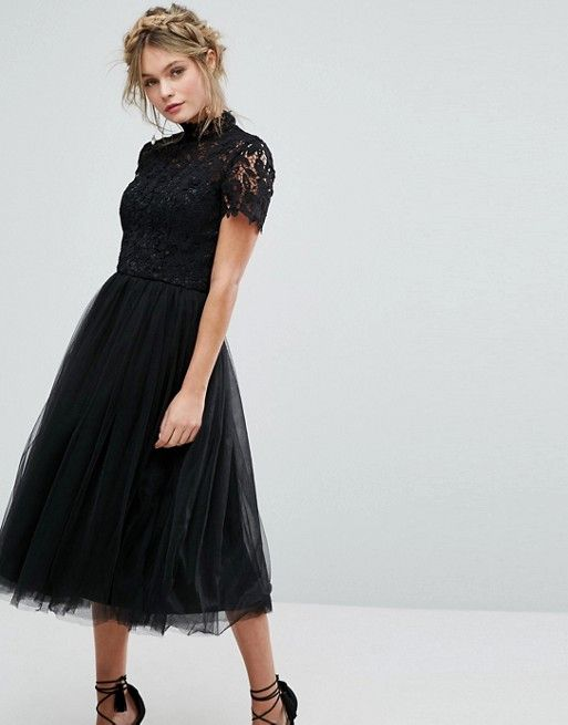 Chi Chi London high neck lace midi dress with tulle skirt in black ... 9c85bd66a64