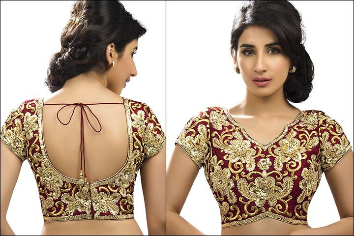 10f66afabcd04f Blouse Back Neck Designs - Embroidered Maroon And Gold Blouse Back Neck  Design. Blouse Back Neck Designs: Top 54 Trendy ...