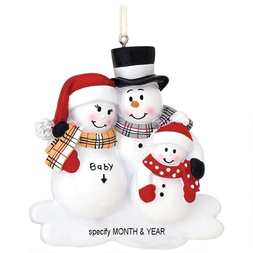Personalized Were Expecting Snowfamily With 1 Child Ornament
