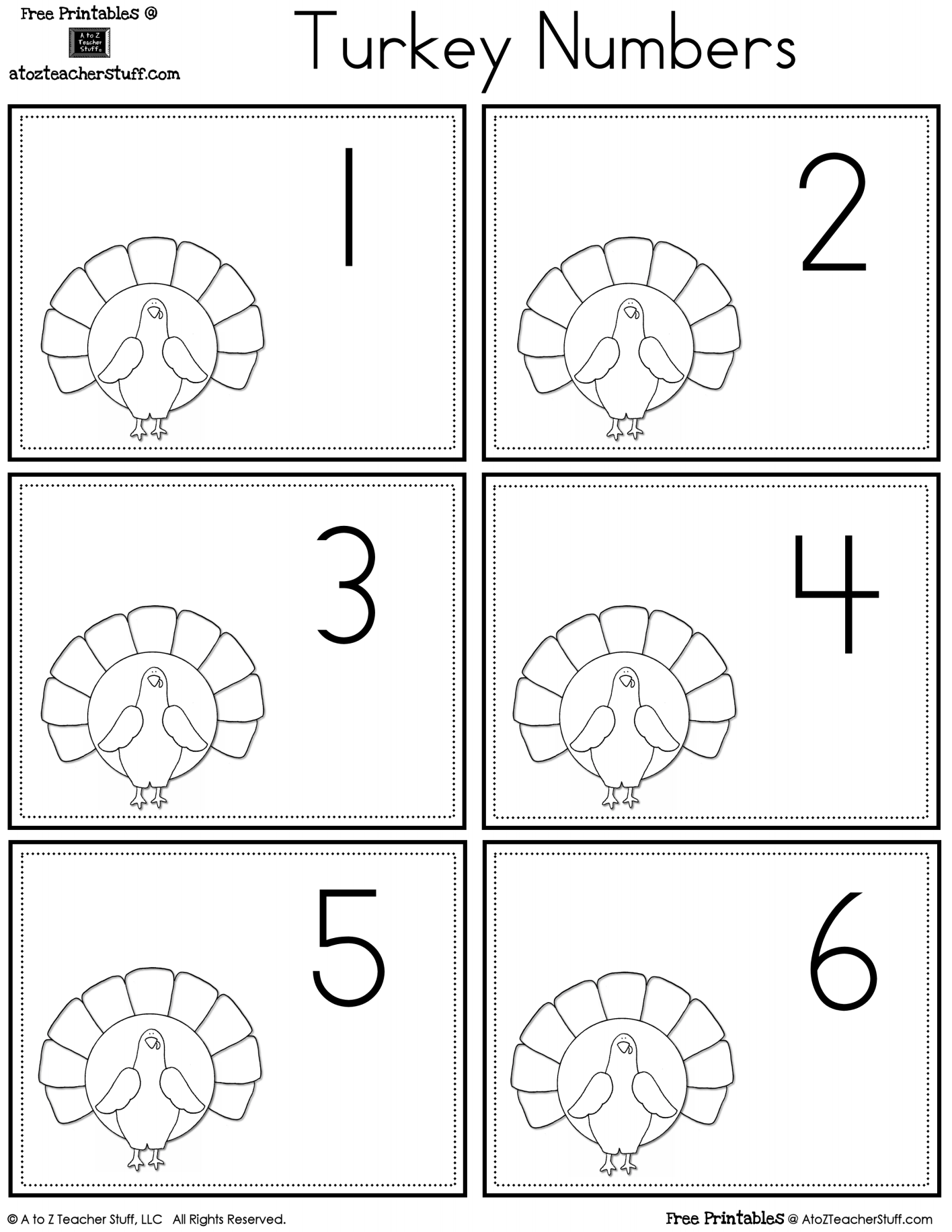 Turkey Number Cards 1 To 30 Free Printables