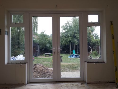 1800mm x 2100mm white pvc upvc french door with sides for Patio doors with side windows