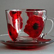 "Crockery manual work.  Fair Masters - handmade Tea pair ""Poppies"".  Handmade."
