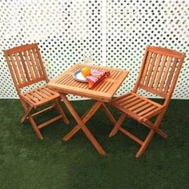 Vifah Glaser Folding Bistro Set Bistro Table And 2 Bistro Chairs