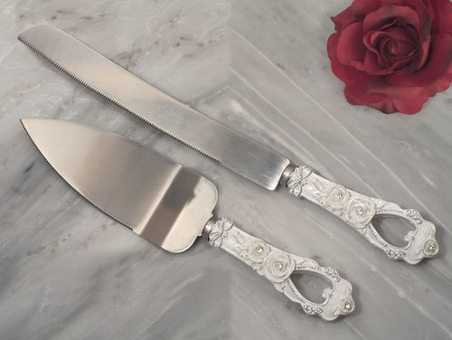 Cassiani Collection 1824 Elegant Rose Collection Cake And Knife Set Wedding Cake Roses Wedding Cake Serving Set Wedding Cake Server Set