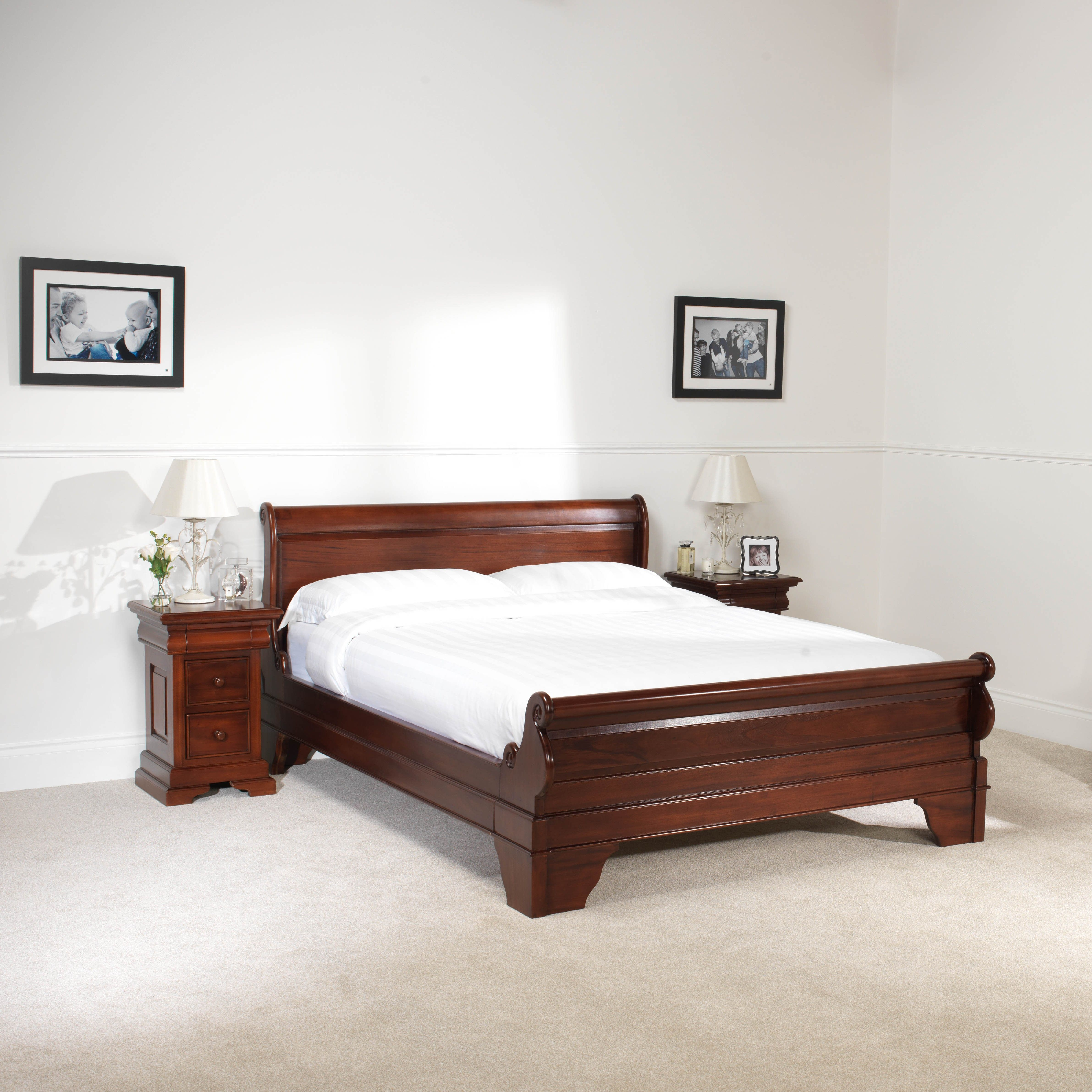 GB10M4 Mahogany Sleigh Bed Low Foot board Bedroom bed
