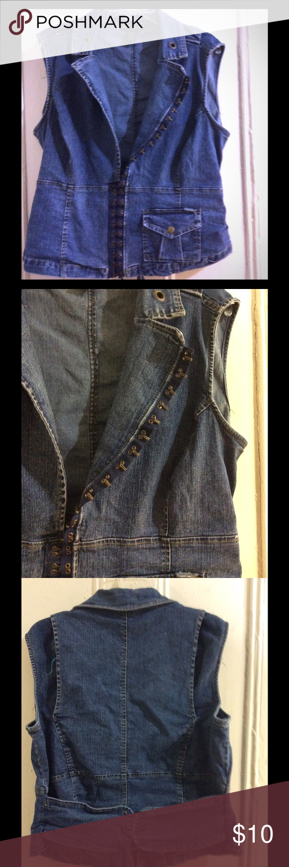 """Denim corset vest Mid wash denim with a few destroyed details. Hook and eye fastening in front, laces up in back to show off your waist. Front pocket holds lip gloss or cash. Size 16W. Princess seams, 22"""" armpit to armpit, 19"""" at high waist, 20"""" across bottom, double to see if it fits your measurements. Ashley Stewart Jackets & Coats Vests"""