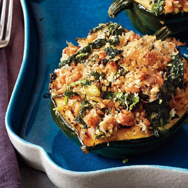 Acorn Squash With Kale And Sausage Recipe Food Recipes Acorn