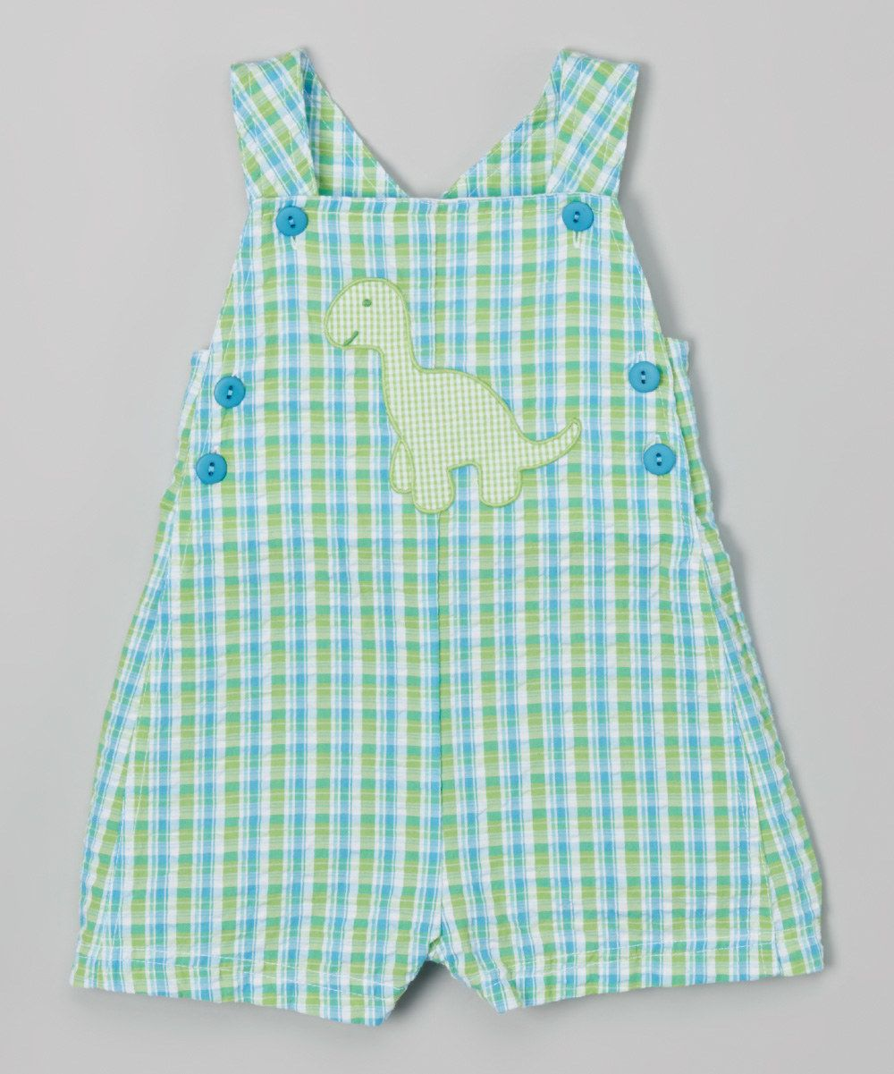 a07eae9a3 Look at this Petit Pomme Green Plaid Dinosaur Overalls - Infant on #zulily  today!
