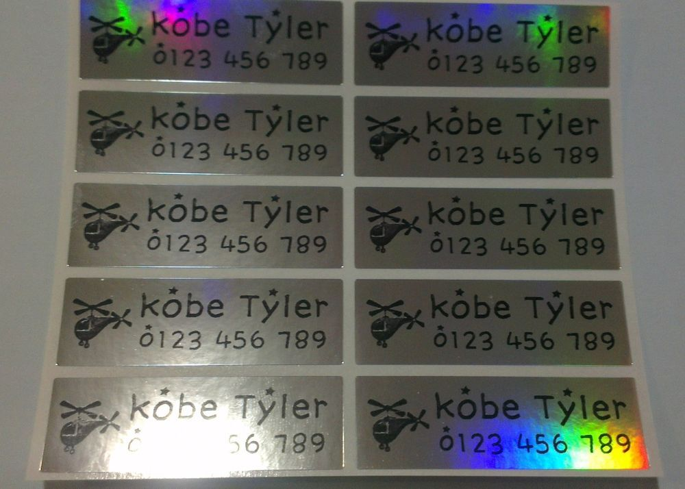 Large laser personalised name stickers name labels 47mm x 15mm waterproof