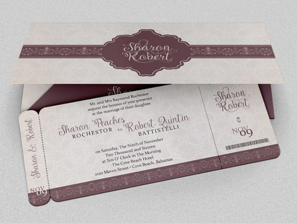 Wedding Boarding Pass Invitation Template is for wedding
