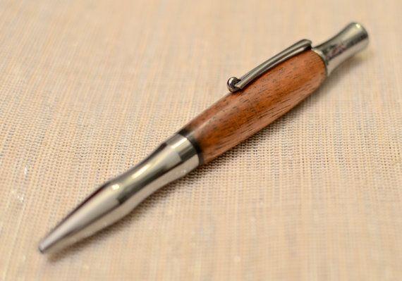 Hand Made Statesman II Rhodium & Gold Wood pen made with Hawaiian Curly Koa