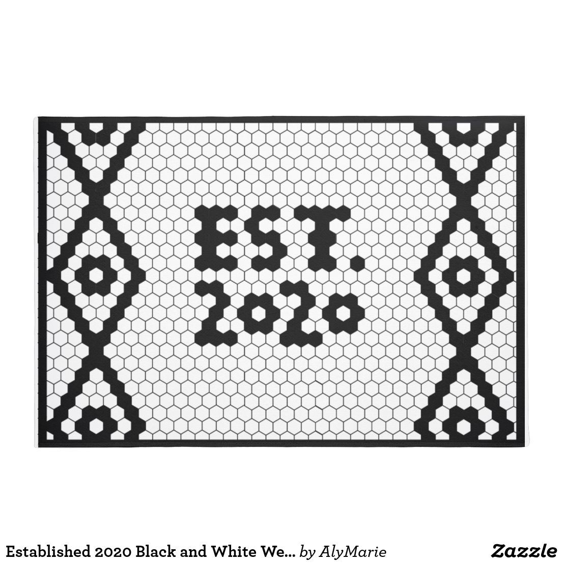 Established Black And White Wedding Tile Doormat