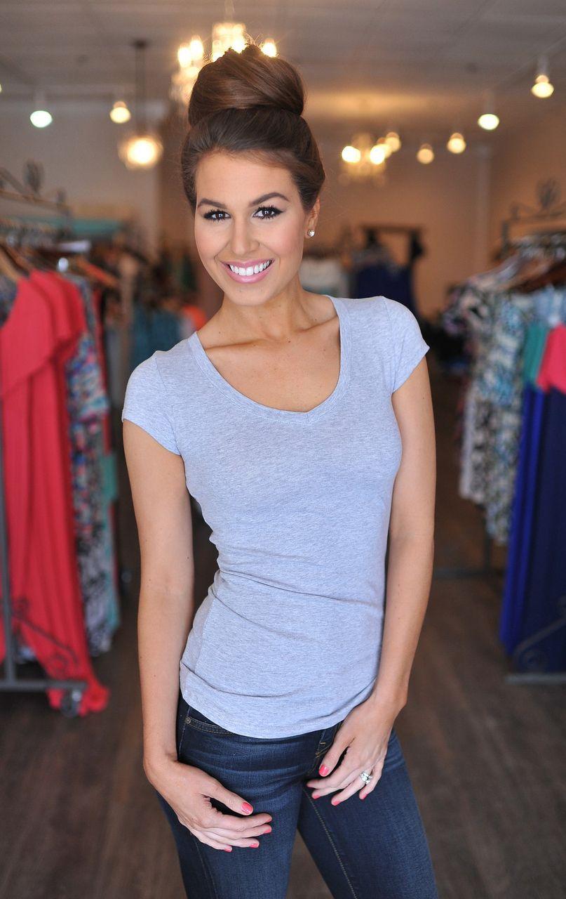 Dottie Couture Boutique -  Basic V Top- Grey, $9.00 (http://www.dottiecouture.com/basic-v-top-grey-1/)